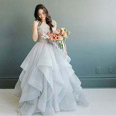 modest wedding dress with cap sleeves and a full skirt from alta moda (modest bridal gown)