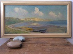 Antique oil painting 1920 panoramic painting coastal view