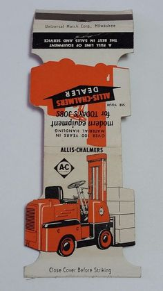 ALLIS-CHALMERS DEALER FORKLIFT JEWELITE #matches. To order your business' own branded #matchbooks or #matchboxes. GoTo GetMatches.com or call 800.605.7331 to get your placed Today!