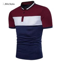 Covrlge 2018 New Men Short Sleeve Polo Shirt Fashion Summer Striped Patchwork Male Tee Shirts Brand Jersey Casual Polos T Shirt Polo, Mens Polo T Shirts, Sweatshirt Outfit, Men's Polo, Camisa Polo, Sweat Cool, Lacoste, Chemise Fashion, Cool Hoodies