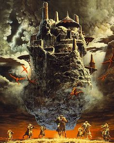 """oldschoolfrp: """"The best complete one-page reprint of Keith Parkinson's """"The Flying Citadel"""" is in The Art of the Dungeons & Dragons Fantasy Game (TSR, where it is captioned """"Dragons of Light"""". This originally appeared as the cover of the Fantasy Castle, High Fantasy, Fantasy Rpg, Medieval Fantasy, Fantasy World, Fantasy Dragon, Medieval Castle, Dungeons And Dragons Art, Advanced Dungeons And Dragons"""
