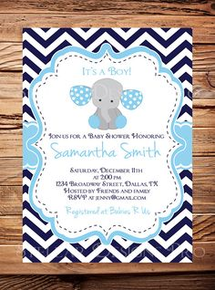 Elephant Baby Shower Invitation Baby Shower by StellarDesignsPro
