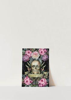 Satanic Skull Goth Aesthetic | Dark Floral Art Poster | Occult Magick Art Decor | Death Moth Butterfly Illustration Print