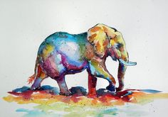 ARTFINDER: Colorful elephant V. by Kovács Anna Brigitta - Original watercolour painting on high quality watercolour paper. I love landscapes, still life, nature and wildlife, lights and shadows, colorful sight. Colorful Elephant, Elephant Love, Elephant Art, Elephant Pattern, African Elephant, Watercolor Animals, Watercolor Paintings, Original Paintings, Elephant Watercolor