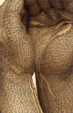 """Israeli artist Ronit Bigal transforms the body into a text. For her """"Body Scripture II"""" series, Bigal uses digital photography overlaid with Biblical text (in Hebrew) and floral ornamentation drawn with black Indian ink to create these stunning images of body calligraphy. The b"""