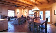 Abiquiu Lake Casita:  Dining room/living room from kitchen, Mexican Antique Furniture throughout