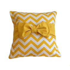 "18"" x 18""Yellow Pillow Cover. Chevron Pillow. Pillow Cover with bow on Etsy, $24.50"