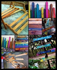 Tropical Directional Sign Project using old pallets Mix Concrete, Black Spray Paint, Directional Signs, Creation Deco, Trash To Treasure, Friend Wedding, Projects To Try, Garden Projects, Things To Come