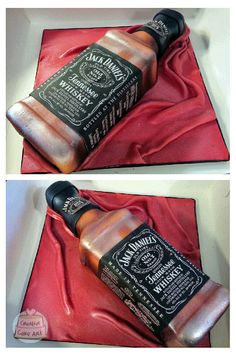 Jack Daniels whisky bottle cake (Decorated Bottle For 21st)