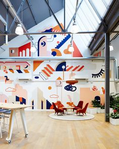 Mural in Etsy studio space Mural Painting, Mural Art, Wall Murals, Office Mural, Office Walls, Deco Design, Wall Design, Interior Architecture, Interior And Exterior