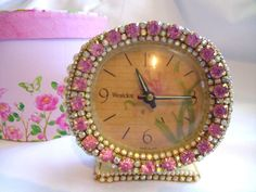 Vintage Westclox Alarm Clock - Pink & Aurora Boreale Rhinestones & Pearls #Westclox #Romanticism