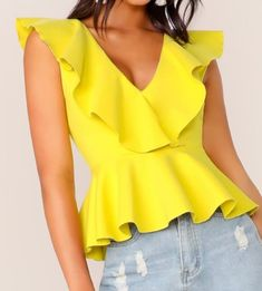 Double V Neckline Ruffle Trim Peplum Top Check out this Double V Neckline Ruffle Trim Peplum Top on Shein and explore more to meet your fashion needs! Peplum Tops, Fashion News, Fashion Outfits, Fashion Styles, Look Blazer, Summer Shirts, Ruffle Trim, Blouses For Women, Women's Blouses