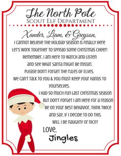 Shelf Elf Return Letter - Scout Elf - Elf on the Shelf - Letter returning from the North Pole by TheHandyHammer on Etsy https://www.etsy.com/listing/255783275/shelf-elf-return-letter-scout-elf-elf-on