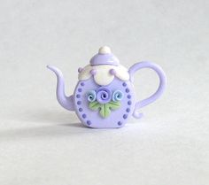 Miniature Round Lavender Rose and DotsTeapot by ArtisticSpirit