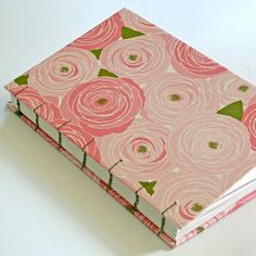Pink Roses Handmade Book  READY TO SHIP by PrairieGarden on Etsy, $38.00