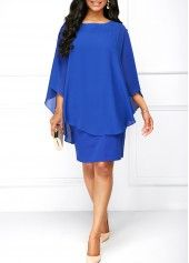 Black Round Neck Chiffon Overlay Dress | Rosewe.com - USD $33.53