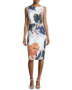 Sleeveless+Floral-Print+Belted+Sheath+Dress++by+David+Meister+at+Neiman+Marcus.