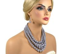 Wedding Pearl Jewelry Set Gray Pearl by WhiteAisleBoutique on Etsy, $32.00