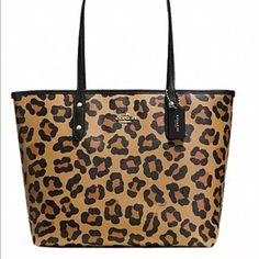 NWT Coach Ocelot City Zip Tote! Brand new with tags! Coach ocelot city zip tote in ocelot tan, black With  gold hardware. 10 inch strap drop. Measurements across top are 16x10x5. Super roomy bag! Coach Bags Totes