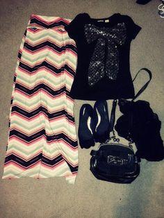 Outfit 17 #modesty #maxiskirt #modestoutfit #bowshirt #guessbag