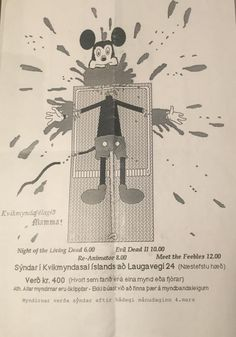 This is an ad from Iceland, dating back to ca. 1990 for film screenings atan underground movie club which specialized in splatter movies. You can find here the names of the movies, showing times, …