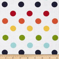 "Riley Blake 108"" Wide Medium Dots Rainbow from @fabricdotcom  Designed for Riley Blake Fabrics, this 108"" wide polka dot quilt backing is perfect for adding just the right finishing touch to your quilts as well as duvets, pillows, dust ruffles, light curtains and more! Colors include green, yellow, red, navy, aqua, pink and orange on a white background."