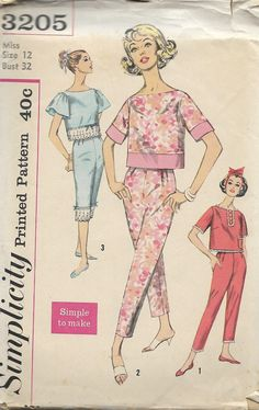 1960's Simplicity 3205 Misses Simple To Make Pajamas Pattern, Two Lengths, Bust 32 by DawnsDesignBoutique on Etsy
