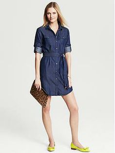 Banana Republic Chambray Shirtdress  Always cool chambray meets shirtdress styling for your new go-to look.