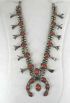 Vintage sterling silver Red Squash Blossom Necklace