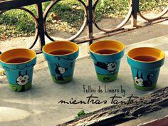 Macetas pintadas Fellini de Liniers