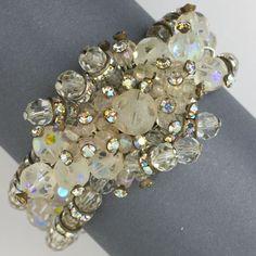 vintage costume jewelry - crystal wrap bracelet
