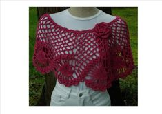 Pineapples Wrap or Capelet – PW-112 – A crochet pattern from Nancy Brown-Designer. A lovely capelet fastened with a fabulous crocheted rose. A design for the Experienced Crocheter to show off your crocheting skills. This pattern PDF can be purchased at my Craftsy Pattern Store for $3.99, just click on the photo.