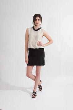 Shop Young & Able Emerging Designer: http://www.shopyoungandable.com ANVY MANDARIN COLOR BLOCK DRESS  $297.00