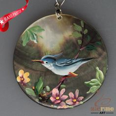 HAND PAINTED BLUE BIRD   NATURAL MOP MOTHER OF PEARL PENDANT ZL3005418 #ZL #PENDANT