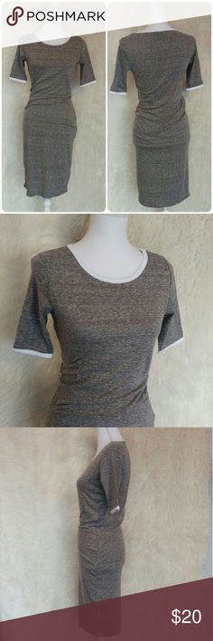 LuLaRoe Julia dress Size XS Excellent pre owned condition No visible wear anywhere on this dress Heather gray/ white trim Can be dressed up or down Soft and comfortable LuLaRoe Dresses Midi