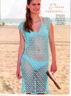 Art & Manhas- Tricô e Crochê: Saída de praia azul, em crochê.