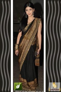 Beautiful bollywood actress shruti hassan style black and golden bollywood Sarees designed golden embroidery lace patta border work and unstitched blouse. #saree, #bollywoodsaree more: http://www.pavitraa.in/store/bollywood-saree/