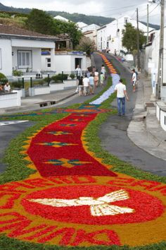 The streets in the parish of Ponta Garca decorated with flowers, Azores, Portugal ... News Photo 175251841