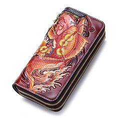 fa9f7f1747fb Handmade Leather Carp Mens Tooled Long Chain Zipper Biker Wallet Cool –  iChainWallets Phone Wallet