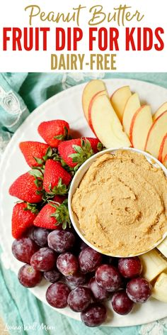 This quick and easy Peanut Butter Fruit Dip is a tasty way to add protein to a fun snack for kids. With dairy-free and nut-free options, you can easily tweak this recipe for almost any dietary needs. Fruit Dip Recipes, Peanut Butter Recipes, Dairy Free Re