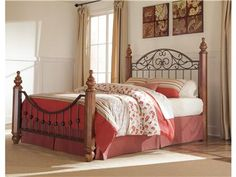 """Shop for Signature Design King/Cal King HDBD/FTBD Panels, B429-72, and other Bedroom Beds at Trivett's Furniture in Fredericksburg, VA. With beautiful scrolling metal and a rich brown stained finish, the early American country style of the """"Wyatt"""" bedroom collection creates a warm relaxing atmosphere for your bedroom decor."""