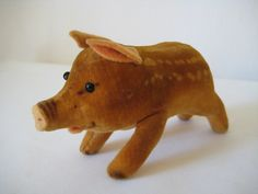 Steiff Vintage Young Wild Boar - - Speckled Velvet - Glass Eyes - So Cute! S Curl, Cute Piggies, Wild Boar, Etsy App, His Eyes, Piggy Bank, I Shop, Two By Two, Velvet