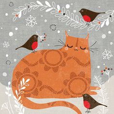 Cats in Art and Illustration: Hilary Yafai Christmas Illustration, Cute Illustration, I Love Cats, Crazy Cats, Cat Christmas Cards, Merry Christmas, Art Mignon, Tatty Teddy, Ginger Cats