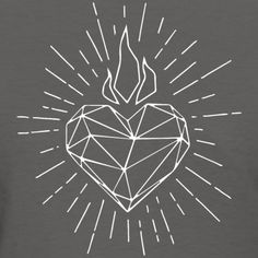 Sacred Heart Modern women s Holy Spirit Tattoo, Sacred Heart Tattoos, Geometric Heart Tattoo, Jesus E Maria, Jesus Tattoo, Heart Of Jesus, Heart Logo, Mexican Art, Christian Art