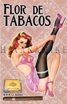 FLOR DE TABACOS kubanische Zigarre Pinup Kunstdruck