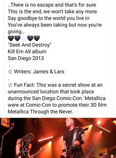 Seek And Destroy, 3d Film, San Diego Comic Con, Metallica, Fun Facts, Writer, Album, Sayings, Lyrics