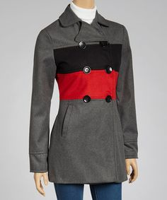 Another great find on #zulily! Gray & Red Stripe Peacoat #zulilyfinds