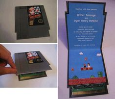 Video Game Themed Wedding Invitation Nintendo, totally Gallagher