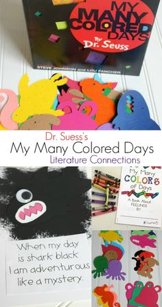 My Many Colored Days Literature Connections - Laura Kelly's Inklings Dr Seuss Crafts, Preschool Crafts, Crafts For Kids, Easy Crafts, Dr Seuss Activities, Activities For Kids, Dr Seuss Week, Dr Suess, Kids Schedule