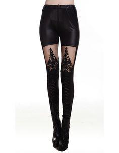 Punk Womens Lace Insert Faux Leather Tight Pants Fashion Leggings